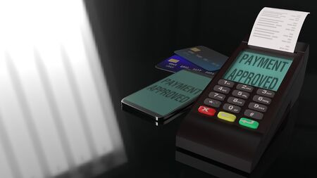 The  Credit Card Terminals 3d rendering image. 写真素材