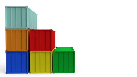 The CONTAINER on white background for shipping concept 3d rendering.