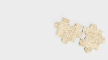 The jigsaw  puzzle on white for abstract concept 3d rendering. 스톡 콘텐츠 - 130119923