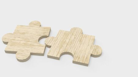 The jigsaw  puzzle on white for abstract concept 3d rendering. 스톡 콘텐츠 - 130119927