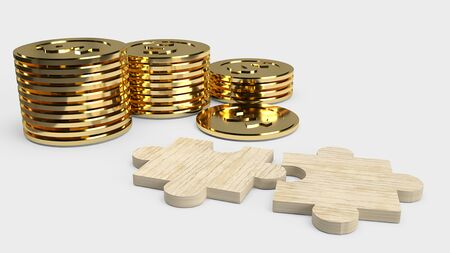 The jigsaw  puzzle and gold coins  for business concept 3d rendering. 스톡 콘텐츠 - 130119928