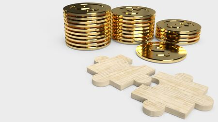 The jigsaw  puzzle and gold coins  for business concept 3d rendering. 스톡 콘텐츠 - 130119930