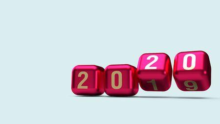 Die Goldzahl 2020 auf Würfeln in roter Metallic-Farbe 3D-Rendering für Inhalte des neuen Jahres.