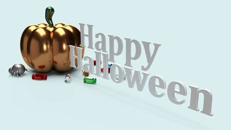 3d rendering  pumpkin on blue background for halloween content. Фото со стока