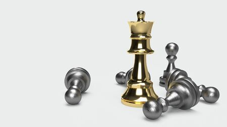 The chess game 3d rendering abstract idea for business content.