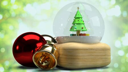 The  Christmas glass ball 3d  rendering for celebration Christmas concept.
