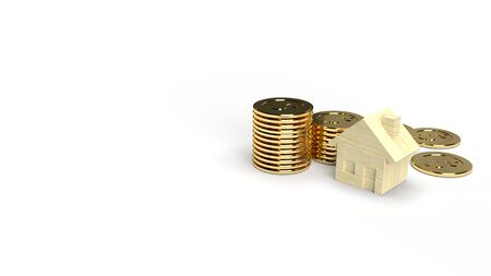 A Wood toy house and gold coin 3d rendering on white background for property content. 写真素材