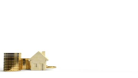 A Wood toy house and gold coin 3d rendering on white background for property content. 写真素材 - 133871115