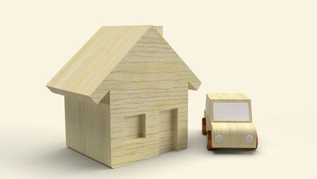 The Wood toy house and car 3d rendering for business content. 写真素材