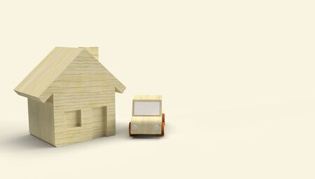 The Wood toy house and car 3d rendering for business content. 写真素材 - 133871119