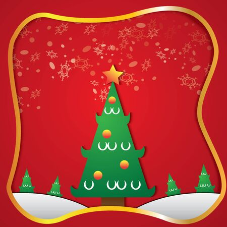 The christmas tree and snow on red background vector image. 写真素材 - 134080741