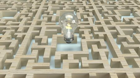 The  Light bulb in wood maze  for idea content 3d rendering. 写真素材