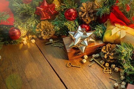 The Christmas decorations on wood table for holiday content. 写真素材 - 134079240