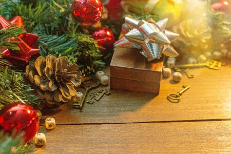 The Christmas decorations on wood table for holiday content. 写真素材 - 134079247