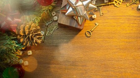 The Christmas decorations on wood table for holiday content.