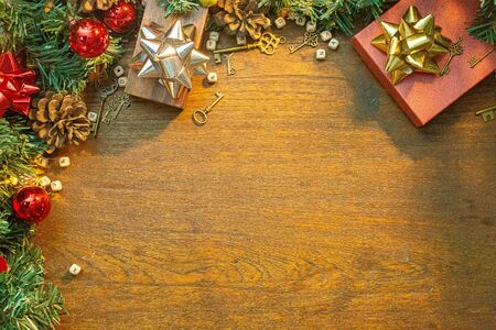The Christmas decorations on wood table for holiday content. 写真素材 - 134079001