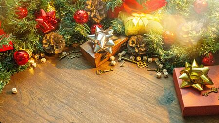 The Christmas decorations on wood table for holiday content. 写真素材 - 134079005