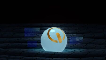 The gold start logo glass ball on black cables 3d rendering image for digital content.