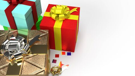 The gift boxs  on white background 3d rendering image for celebration content. 写真素材