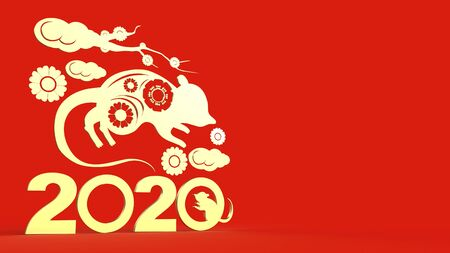 The Chinese new year 2020 3d rendering for holiday content. 写真素材 - 134464365