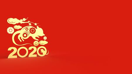 The Chinese new year 2020 3d rendering for holiday content.