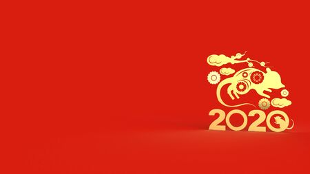 The Chinese new year 2020 3d rendering for holiday content. 写真素材 - 134464243