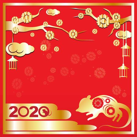 The Chinese new year 2020 vector image for holiday content. 写真素材 - 134464246