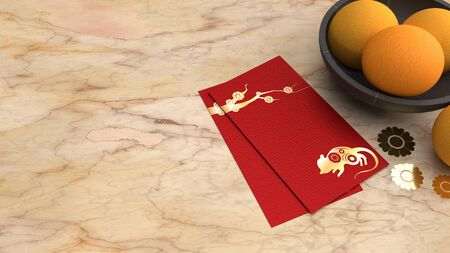 The 3d rendering red envelope reward Chinese new year 2020 on table for holiday content. 写真素材