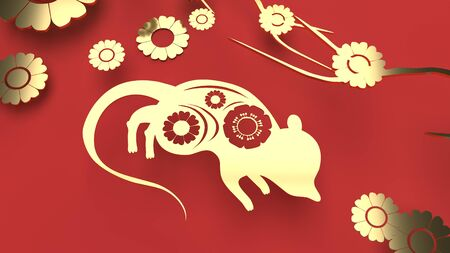 The mouse and flower gold plate on red background 3d rendering for Chinese new year content.