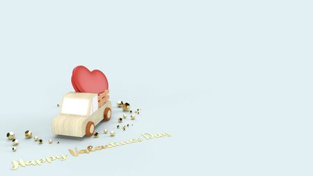 The wood truck and red hearts 3d rendering for valentines content.