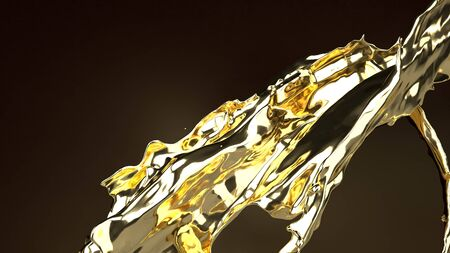 The gold liquid on black  3d rendering for  abstract background.