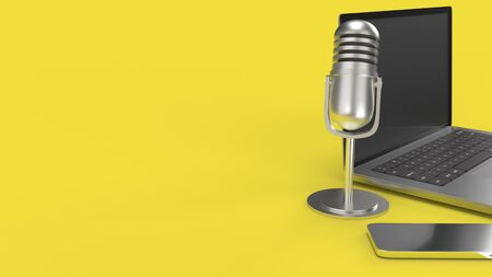 The vintage mic  notebook and smartphone on yellow background 3d rendering for podcast  content. 写真素材