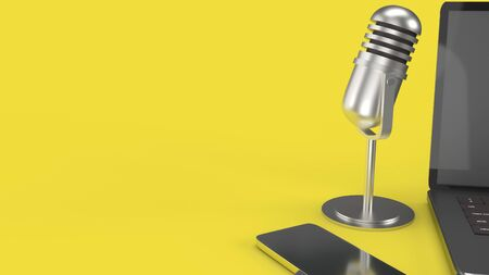 The vintage mic  notebook and smartphone on yellow background 3d rendering for podcast  content. 版權商用圖片