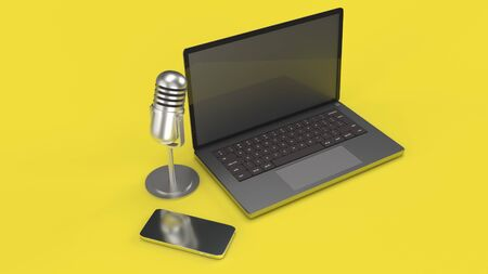 The vintage mic  notebook and smartphone on yellow background 3d rendering for podcast  content. Imagens