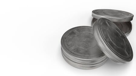 The film reel cases  on white background 3d rendering for behind the scene content. 写真素材