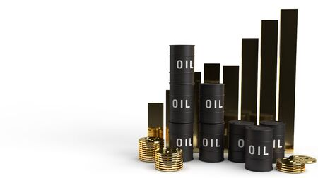 The tank oil and chart 3d rendering for petrol content. 写真素材