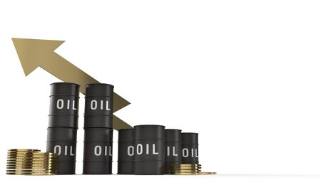 The tank oil and gold coins  3d rendering for petrol content.