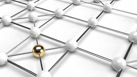 Abstract design connection design gold and white sphere network structure 3d rendering.