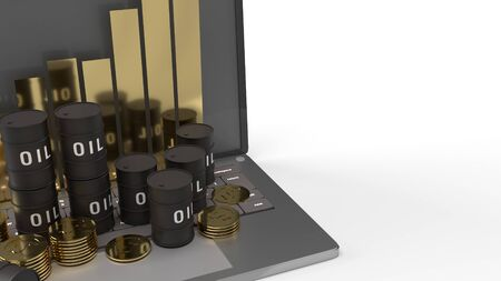 oil thanks and chart on  laptop 3d rendering for  petroleum  content.