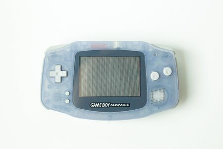 Bangkok  Thailand  13 January  2020 nintendo game boy advance portable console  on white background.