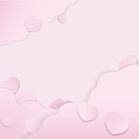 The pink valentine paper cut vector image for valentine's day  content.
