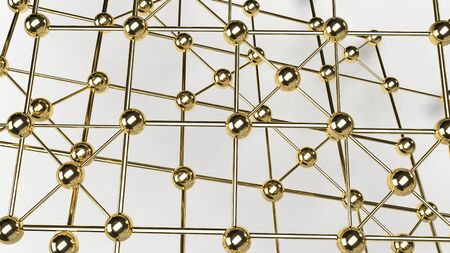 Abstract design connection design gold  sphere network structure 3d rendering.