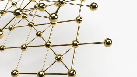Abstract design connection design gold  sphere network structure 3d rendering. 写真素材