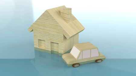 home and car wood toy in water 3d rendering for flood content. 写真素材