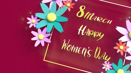 The flowers and gold 3d rendering for women day content.