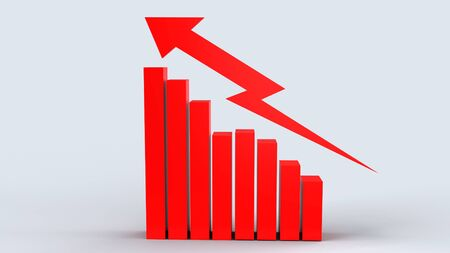 red arrow and chart on white background 3d rendering for business content.