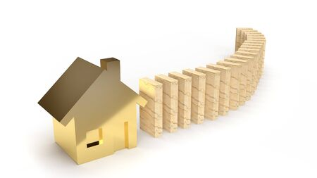 wood domino and gold house 3d rendering abstract image for property content.