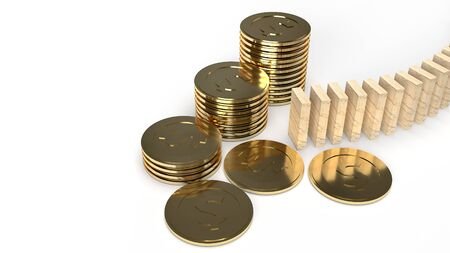 The wood domino and gold coin 3d rendering abstract image for business content.  写真素材