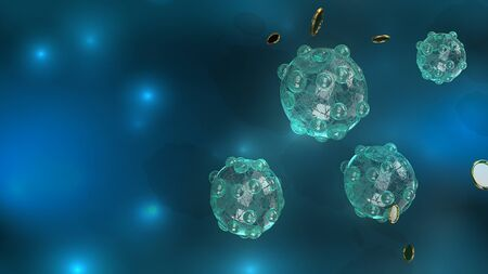 The virus in dark tone 3d rendering for medicine and healthcare content.