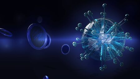 The virus in dark tone 3d rendering for  medicine  and  healthcare content. 스톡 콘텐츠